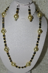 "MBAHB #19-355  ""Large Yellow Glass Pearls, Square AB Yellow Glass Beads & Hemalyke Bead Necklace & Earring Set"""