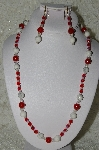 "MBAHB #19-250 ""Howlite, Red Jade, Clear AB Crystal & Red Fire Polished Glass Bead Necklace & Earring Set"""