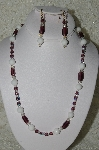 "MBAHB #19-426  ""White Jade,Purple Glass, Clear AB Crystal & Purple Fire Polished Glass Bead Necklace & Earring Set"""