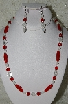 "MBAHB #19-317  ""Cracked Rock Crystal,Red Crystal & Frosted Clear Fire Polished Glass Bead Necklace & Earring Set"""