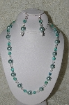 "MBAHB #19-329  ""Large Blue Glass Pearls, AB Aqua Blue Fire Polished & Clear Glass Bead Necklace & Earring Set"""