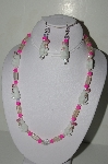 "MBAHB #19-453  ""Fancy Lamp Work Glass Bunny Beads, Bright Pink, Clear Luster Glass & AB Glass Bead Necklace & Earring Set"""