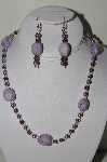"MBAHB #19-303  ""Purple Howlite, Purple Fire Polished Glass Bead & Purple Glass Pearl Necklace & Earring Set"""
