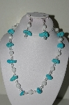"MBAHB #19-313  ""Turquoise, White Jade & Clear Fire Polished Glass Bead Necklace & Earring Set"""
