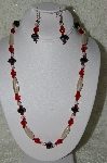 "MBAHB #19-325  ""Fancy Black Matalic Crystal, Clear Luster Glass & Red Fire Polished Glass Bead Necklace & Earring Set"""