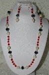 "MBAHB #19-402  ""River Stone, Fancy Faceted Black Crystal, Clear Crystal & Red Firepolished Glass Bead Necklace & Earring Set"""