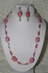 """SOLD"" MBAHB #19-378  ""Pink Gemstone, Pink AB Crystal & Pink Luster Glass Bead Necklace & Earring Set"""