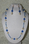 """SOLD""  MBAHB #19-417  ""River Stone, Clear Crystal, Blue Glass & Blue Fire Polished Glass Bead Necklace"""