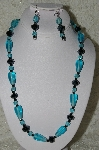 "MBAHB  #19-333  ""Fancy Faceted Black Crystal & Aqua Blue Glass Necklace & Earring Set"""