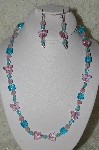 """SOLD MBAHB #19-340  ""Fancy Faceted Pink Crystal Butterfly & Aqua Blue Glass Bead Necklace & Earring Set"""