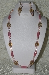 "MBAHB #19-387  ""Fancy Pink Crystal & Glass Bead Necklace & Earring Set"""