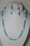 "MBAHB #19-392  ""White Jade, Clear Crystal & Aqua Blue Glass Bead Necklace & Earring Set"""