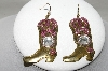 "MBA #88-077  ""One Of A Kind Bead & Crystal Cowboy Boot Earrings"""