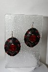 "MBA #86-025  ""One Of A Kind Black Enamel Concho & Red Rhinestone Earrings"""