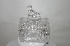 "MBA #89-065  ""Fancy Clear Crystal Bird Toped Trinket Box"""