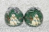 "**MBA #SG9-222     ""Set Of 6 Signed Tracy Porter Green Snowman Paper Mache Christmas Ornaments"""