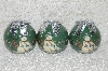 "**MBA #SG9-227   ""Set Of 3 Signed Tracy Porter Green Snowmen Paper Mache Christmas Ornaments"""