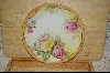 **MBA #MIP  Hand Painted Pink & Yellow Rose Plate From Prussia