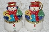 "**MBA #SG9-082    ""Mr. Christmas Set Of 2 Snowman Animated Music Box Ornaments"""