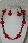 "MBAHB #33-211  ""Fancy Red Hand Bead Necklace & Matching Earring Set"""