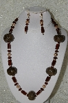 "MBAHB #33-199  ""Fancy Coffee Bead & Brown Glass Bead Necklace & Matching Earring Set"""