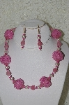 "MBAHB #33-193  ""Fancy Hand Made Square Pink Bead & Glass Bead Necklace & Matching Earring Set"""