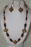 "MBAHB #33-195  ""Hand Made Coffee Bead & Brown Glass Bead Necklace & Matching Earring Set"""