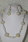 "MBAHB  #33-208  ""Fancy Hand Made Clear AB Seed Bead Cluster Beads, White Luster Glass & White Glass Pearl Necklace & Matching Earring Set"""