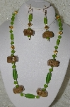 "MBAHB #33-160  ""Fancy Hand Made Coffee Bead & Frosted Green Glass Bead Necklace & Matching Earring Set"""
