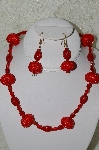 "MBAHB #33-165  ""Fancy Hand Made Red Seed Bead Cluster Beads & Fancy Red Glass Necklace & Matching Earring Set"""