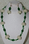 "MBAHB #33-163  ""Fancy Seed Bead Cluster Beads, Green Glass Bead & Green Glass Pearl Necklace & Matching Earring Set"""