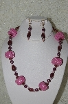 "MBAHB #33-108  ""Fancy Square Pink Seed Bead, Purple Glass & Pink Crystal Necklace & Matching Earring Set"""