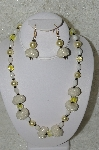 "MBAHB #33-117  ""Fancy Hand Made Seed Bead Cluster Beads, Large Yellow Glass Pearls, Fancy Yellow Glass Beads & White Luster Glass Bead Necklace & Matching Earring Set"""