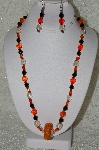 "MBAHB #33-104  ""Fancy Orange Seed Bead Cluster, Czech Faceted Orange Glass Beads, Black Faceted Crystal Beads & Clear Luster Glass Beaded Necklace & Matching Earring Set"""