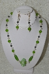 "MBAHB #33-120  ""Fancy Hand Made Green Cluster Bead, Lime Green Frosted Glass Beads, White Luster Glass Beads & Hemalyke Bead Necklace & Matching Earring Set"""