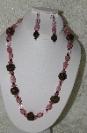 "**MBAHB #33-023  ""Fancy Hand Made Rose Petal Beads, Pink Luster Glass Bead & Faceted Pink Crystal Beaded Necklace & Matching Earring Set"""