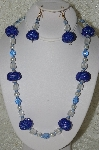 "MBAHB #33-142  ""Fancy Hand Made Blue Seed Bead Cluster Beads, Clear Glass Bead, White Glass Pearl & Fancy Faceted Blue Crystal Bead Necklace & Matching Earring Set"""