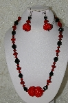 "MBAHB #33-056  ""Fancy Red Hand Made Red Seed Bead Cluster Beads, Black Faceted Crystal Beads & Fancy Faceted Red Crystal Bead Necklace & Matching Earring Set"""