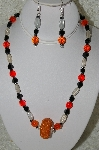 "MBAHB #33-097  ""Fancy Orange Seed Bead Cluster Bead,Czech Faceted Orange Glass bead,Clear Luster Glass & Fancy Square Black Glass Bead Necklace & Matching Earring Set"""