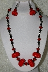 "MBAHB #33-052  ""Fancy Seed Bead Cluster Beads, Black & Red Crystal Beaded Necklace & Matching Earring Set"""