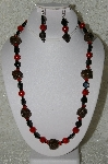 "MBAHB #33-015  ""Fancy Hand Made Victorian Rose Petal Beads, Black Glass & Red Jade Bead Necklace & Matching Earring Set"""