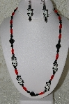 "MBAHB #33-067  ""Fancy Panda Glass Bead, Red Glass Bead & Black Crystal Bead Necklace & Matching Earring Set"""