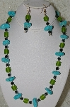 "MBAHB #33-172  ""Blue Turquoise, Hemalyke & Frosted Green Glass Bead Necklace & Matching Earring Set"""