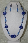 "MBAHB #33-027  ""Fancy Hand Made Blue Seed Bead Cluster Beads, Frosted Light Blue Glass & DK Blue Crystal Bead Necklace & Matching Earring Set"""