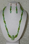 "MBAHB #33-127  ""Fancy Hand Made Green Seed Bead Cluster Bead, Frosted Green Glass & Fancy Green Glass Beaded Necklace & Matching Earring Set"""