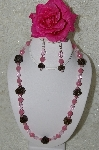 "MBAHB #33-090  ""Fancy Hand Made Victorian Rose Petal Beads, Pink Milk Glass & Pink Crystal Bead Necklace & Matching Earring Set"""