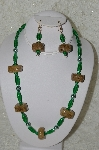 "**MBAHB #33-154  ""Fancy Hand Made Square Coffee Beads, Green Glass & Green Glass Pearl Necklace & Matching Earring Set"""