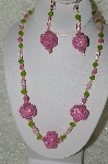 "MBAHB #33-138  ""Fancy Pink Hand Made Seed Bead Cluster Beads, Frosted Pink Glass, Frosted Green Glass & Clear Pink Glass Beaded Necklace & Matching Earring Set"""