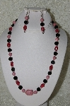 "MBAHB #33-011 ""Pink Gemstone, Cranberry Glass & Black Glass Bead Necklace & Matching Earring Set"""