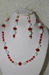 "MBAHB #33-145  ""White Jade,DK Red Crystal & AB Red Czech Glass Bead Necklace & Earring Set"""
